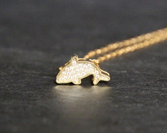 18k Gold Dolphin Necklace Crystal Mini Dolphin Necklace.