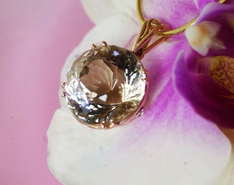 Rose Gold Necklace, Rose Gold Pendant, April Birthstone, Rose Gold Jewelry, Handmade Gold Jewelry, Handmade Jewelry, Conflict Free