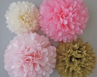 Pink & Gold Tissue Paper Pom Poms - 4 Piece Set - Weddings - Bridal Shower - Decorations - Birthday - Nursery - Party Decorations