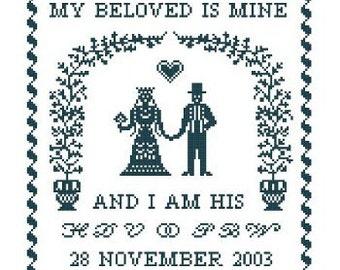 My Beloved Is Mine Wedding Sampler - Cross Stitch Pattern PDF Bride and Groom