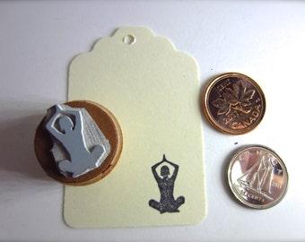 Lotus Pose Yoga Silhouettes Stamp Padmasana SM Y007