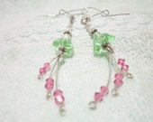 Peridot Green Glass Flower Beaded Dangle Earrings