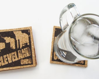 Cleveland Smokestacks - Cork Coaster Set (Square)