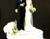"""Simple and traditional """"sweet pea"""" bride and groom cake topper SAMPLE"""