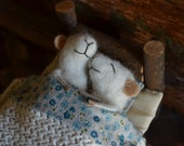 Sleeping Married Sweet Tiny Mice - unique - needle felted ornament animal, felting dreams made to order