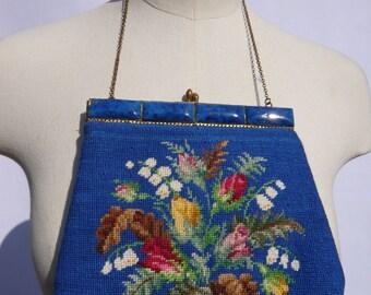 Super blue needlepoint bag