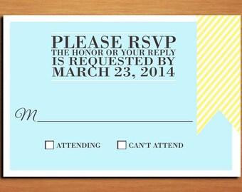 Blue and Yellow Ampersand Wedding RSVP Postcard PRINTABLE / DIY