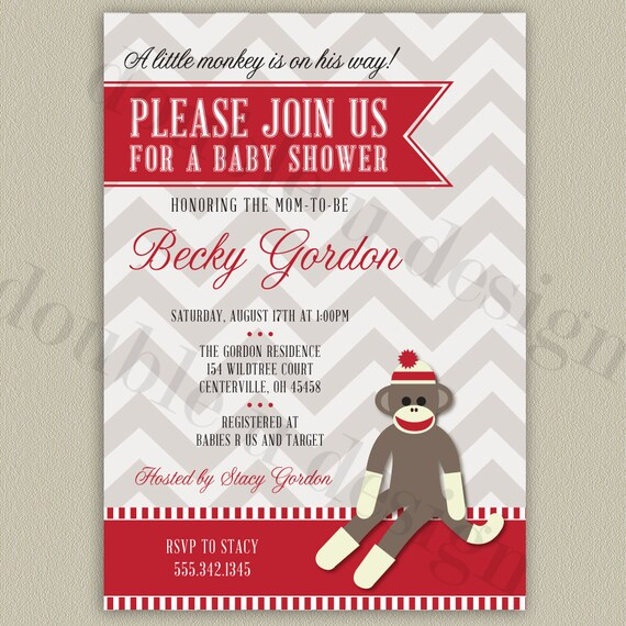 sock monkey baby shower invitation printable