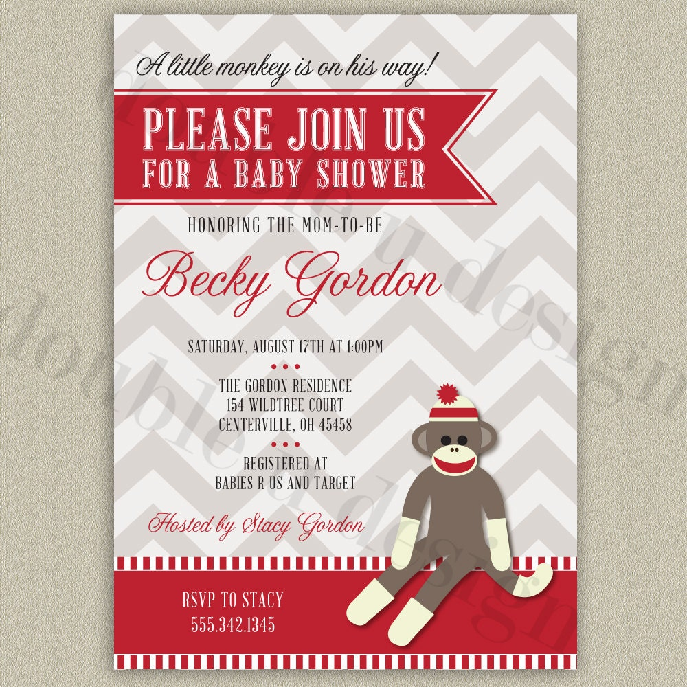 Monkey Shower Invitations as awesome invitation design