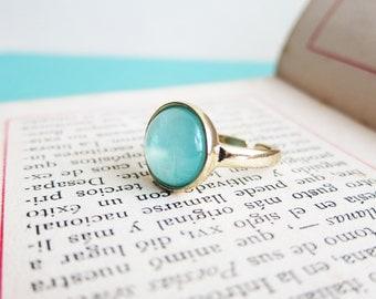 Turquoise Ring Sea Foam Pale Light Blue Mint Dusty Aqua Ring Modern Jewelry Classy Minimal Faux Gem Stone Ring