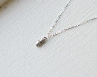 Tiny Peanut Necklace- Silver Charm Jewelry- Baseball Game- Teacher- Funny Gift Idea