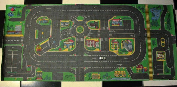 Vintage 90s Boys Men Collectibles Toy Car Mat Rug Bedroom Home