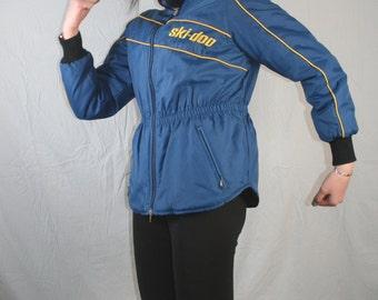 vintage Blue Womens Ski jacket 1970s 1980 skidoo ski doo blue with yellow striping // Womens Medium // insulated elastic waist