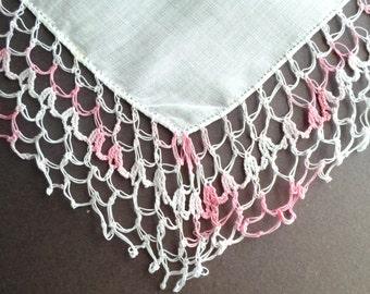 Vintage Hankie, Crochet Handkerchief, Hankie, Wedding Hankies, Crocheted, 1940s, Handkerchiefs, Pink and White, All Vintage Hankies