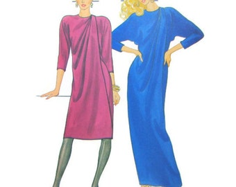 Front Wrap Dress with Front Drape, 3/4 Bracelet Length Dolman Sleeves, Size 10, Bust 32 1/2, Butterick 4655, UNCUT 1980s Sewing Pattern