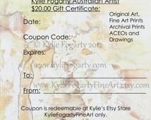 Art Gift Certificate - Twenty Dollars - Last Minute Gift - Kylie Fogarty Fine Art