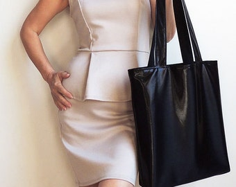 Liquid Metallic Black Tote Bag
