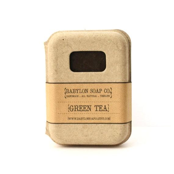 Green Tea Soap . All Natural Soap . Handmade Soap . Unscented Soap . Hot Process Soap . Vegan Soap