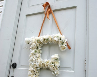 Wedding Silk Flower Letter, Floral Church Decor, Custom Signage,  Home Decor, Spring Wreath, Front Door Decor