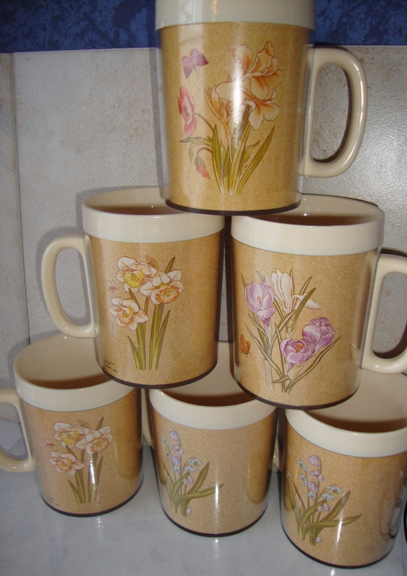Vintage Melmac Insulated Thermal Floral Cups Mugs Coffee