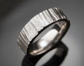 Saw Cut Wedding Band Ring, Textured Palladium Ring, Unisex Wedding Ring, Rustic Wedding Band, Mens Wedding Ring, Wood Grain Ring