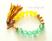 Tassel bracelet. Yoga bracelet. Yellow and Green bracelet. Acuarela,
