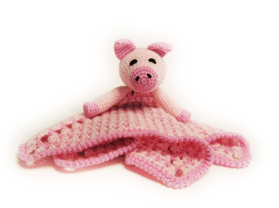 Piggy Lovey CROCHET PATTERN instant download -pig  blankey, blankie, security blanket