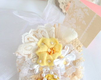 Fiber Art Brooch Jewelry Bridesmaid Gift  Victorian Butter Cup Yellow Textile Jewelry Lace, Pearls, Burlap, Bridesmaid Gift Accessory