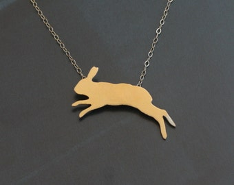 Easter Jumping Rabbit Charm , Gold Bunny Necklace , Woodland Bunny Jewelry , Rabbit Necklace , Rabbit Pendant , Bunny Charm , Bunny Pendant