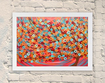 Giclee Art Print - Red & Turquoise Abstract Tree Painting - Giclee Print by Louise Mead