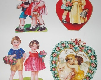 Valentine Victorian Cards Gift Tags Victorian Scrapbook Valentine CutOuts Bookmarkers Party Favors Vintage Inspired COUPLES COLLECTION