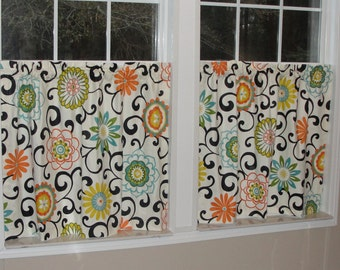 """Waverly Pom Pom Play Confetti Cafe Curtains 80"""" wide x 30"""" long Big Bold Flowers Orange Green Turquoise Yellow Black"""