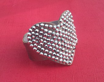 Unusual Metallic Silver Hearts Leather Cuff Bracelet with Rhinestone Design Gothic Punk