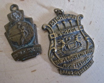 SALE Vintage School Medals Collectible Award Charms Art Project Michigan School Band Orchestra Schoolfield Recreation Champion Volley Ball