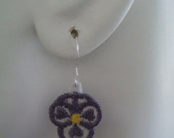 SALE Tiny Purple and White Pansy Lace Charm Hook Earrings