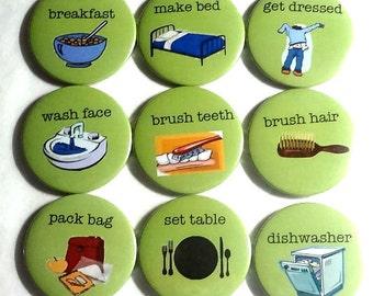 Magnet -  Chore magnets  - set of 10 fridge magnets