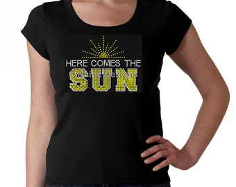 Here Comes the Sun RHINESTONE t-shirt tank top sweatshirt - S M L XL 2XL - Michigan Leland Fish Town Fishtown Party Spring Summer Bling