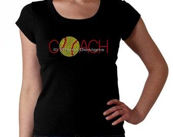 Softball Coach RHINESTONE t-shirt tank top sweatshirt S M L XL 2XL - Bling Sports Sport