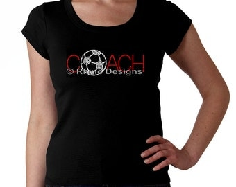 Soccer Coach RHINESTONE t-shirt tank top sweatshirt S M L XL 2XL - Bling Soccer Ball Football Foot Sports Sport