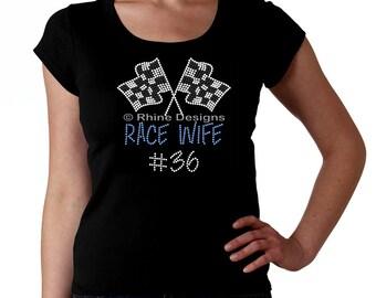 Race Wife Custom RHINESTONE t-shirt tank top sweatshirt S M L XL 2XL - bling racing car bike boat motorcross Sprint Nascar stock bmx Esposa