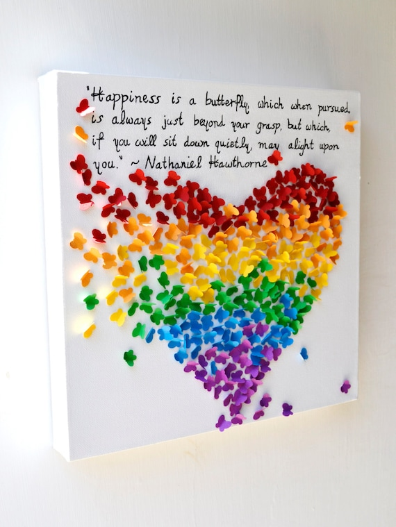 New inspirational quote 3d butterfly heart with your for Good quotes to paint on my wall
