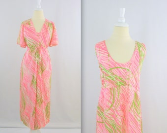 Vintage Peignoir and Nightgown Set - 1960s Neon Pink and Green - Small Medium