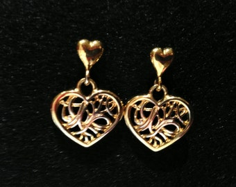 Filigree Heart Earrings with Stud Attachment-Gold Tone