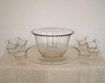 Vintage Imperial Candlewick Punch Bowl and Cups Set