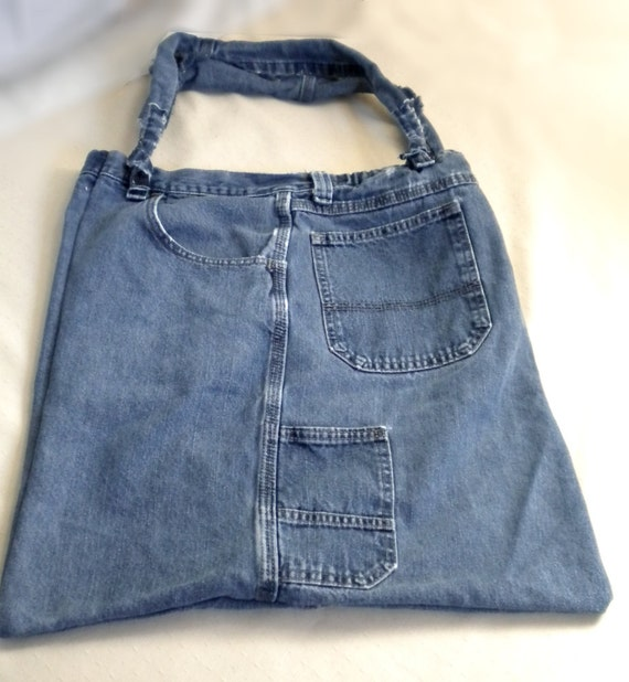 Denim Hobo Slim Bag with knotted straps beach tote book Upcycled Just wash dry and go