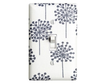 Dandelion Nursery Decor / White and Gray Light Switch Plate / Baby Gender Neutral / Seed Heads in Gray