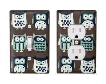 Owl Light Switch Plate and Outlet Cover / Kids Room Nursery Decor / Auqa Brown White Owls / By Slightly Smitten Kitten Designs