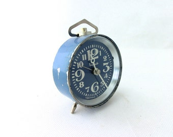 Vintage alarm clock blue made in Russia 70s