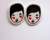 Embroidered jewelry brooch of face with red hearts black and white listing is for ONE brooch