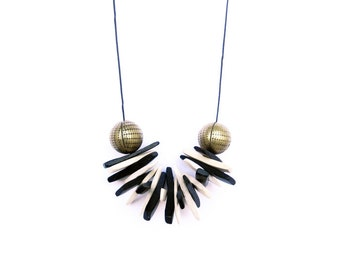 Black And White Necklace, Coconut Necklace, Brass Necklace